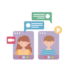Stay at home people website online conversation vector