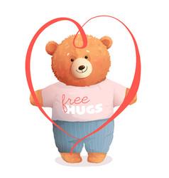 Teddy bear hugging holding valentine gift heart vector
