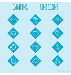 Travel and tourism line Icons set Camping vector image