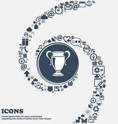 Trophy sign icon in the center Around the many vector image