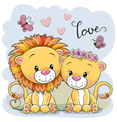 Two lions on a blue background vector