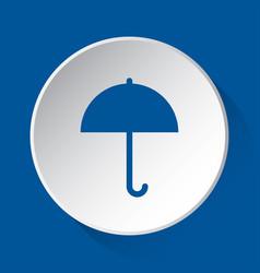 umbrella - simple blue icon on white button vector image