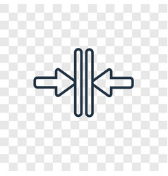 Vertical merge concept linear icon isolated on vector