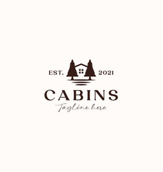 vintage cabin logo concept isolated in white vector image