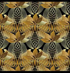 vintage ornamental 3d abstract seamless pattern vector image