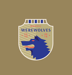 Werewolves medeival sports team emblem abstract vector