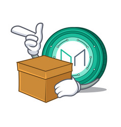 With box maker coin character cartoon vector