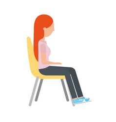 Woman sitting on chair vector
