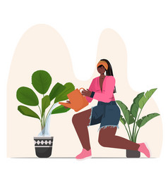 Woman taking care houseplants african american vector