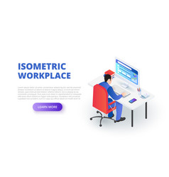 Workplace design concept with sitting man vector