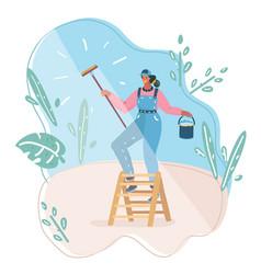 young woman who washing window vector image