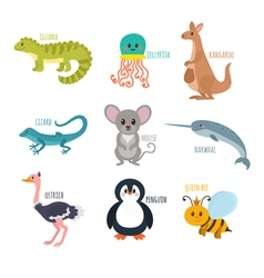 ABC Cute zoo alphabet in Funny cartoon animals vector image vector image