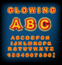glowing abc light font retro alphabet with lamps vector image vector image