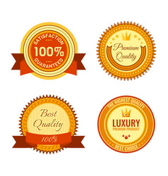 golden round reward seals collection with vector image