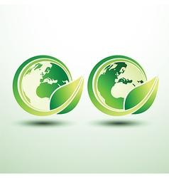Green global label vector image vector image