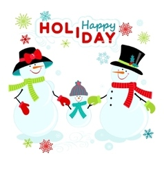 Greeting snowmen family vector image vector image