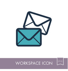 mail outline icon workspace sign vector image