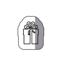 silhouette emblem sticker box with bow ribbon icon vector image