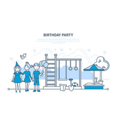 children celebrate party birthday walk in park vector image vector image