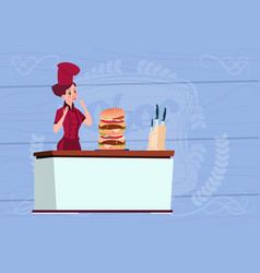 female chef cook big burger cartoon chief in vector image vector image