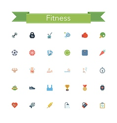 Fitness Flat Icons vector image