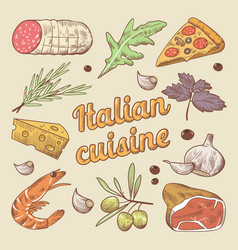 hand drawn italian cuisine doodle with pizza vector image vector image