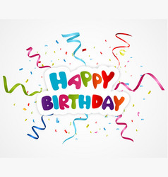 Happy birthday greeting card with ribbon vector image