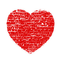 heart grunge brick vector image