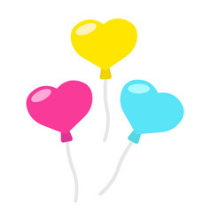 heart shaped balloons flat icon valentines day vector image