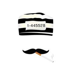 Prisoner cap mustache and cigarette vector image