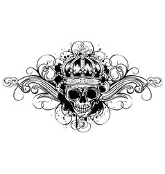 skull in crown with patterns vector image