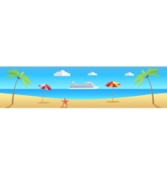 Beach with Sand and Palm vector image