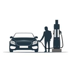 car fuelling transport gas station vector image