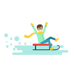 happy smiling boy riding a sledge winter activity vector image