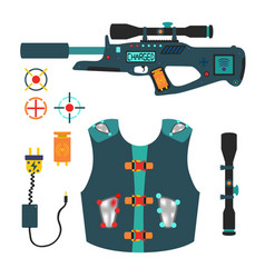 laser tag game set in flat style vector image vector image