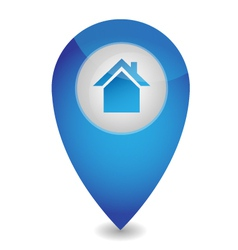 Map pointer with house vector image vector image