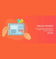 online payment banner horizontal cartoon style vector image