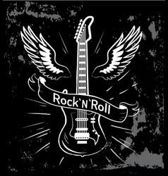 rock n roll guitar and wings vector image