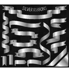 Set of silver ribbons on carbon background vector image