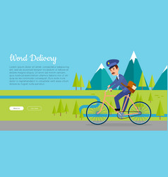 world delivery web banner with postman vector image vector image