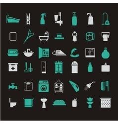Bathroom icons set vector image vector image