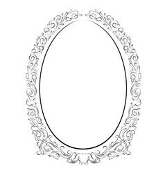 calligraphy penmanship oval baroque frame black vector image vector image