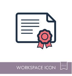 certified outline icon workspace sign vector image
