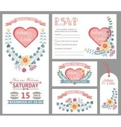 Cute wedding design template setFloral decor vector image