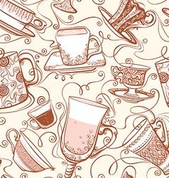 Seamless tea pattern vector image