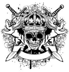 skull in crown lions and crossed swords vector image vector image