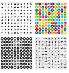 100 farm icons set variant vector