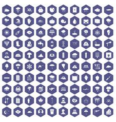100 thunderstorm icons hexagon purple vector