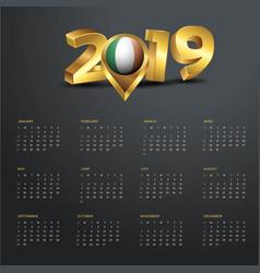2019 calendar template ireland country map golden vector