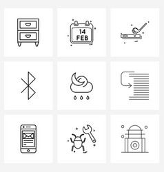9 interface line icon set modern symbols on vector